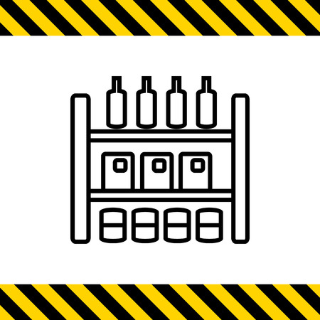 arranging: Icon of shop shelves with various goods