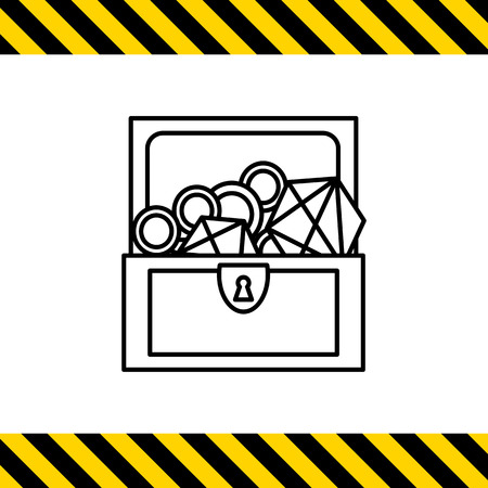 Icon of open treasure chest with diamonds and gold Illustration