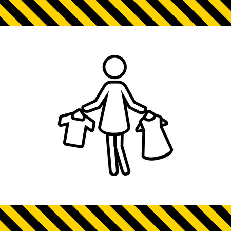 hangers: Icon of womans silhouette holding clothes on hangers
