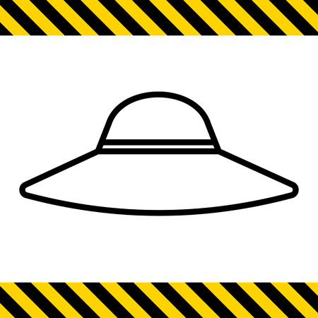 brim: Icon of women hat with wide brim Illustration