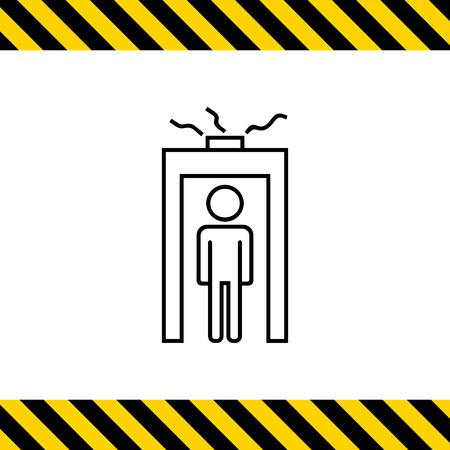 metal detector: Icon of mans silhouette going through metal detector gate with glowing beam Illustration