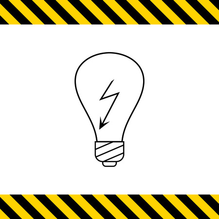 electrocution: Line icon of lightbulb with high voltage sign inside