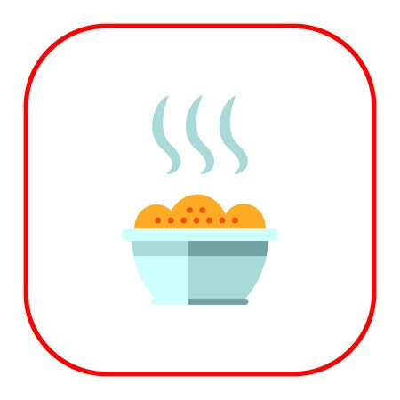 carbohydrate: Vector icon of bowl with hot porridge Illustration