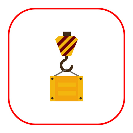 hook up: Multicolored vector icon of lifting hook with cargo