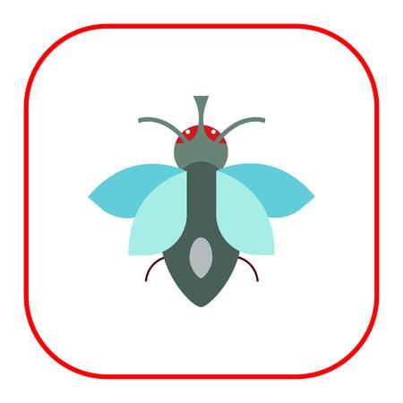 feeler: Multicolored vector icon of cartoon fly, top view