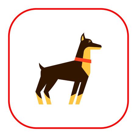 body guard: Multicolored vector icon of standing doberman dog