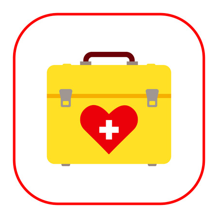 first aid kit: Vector icon of yellow first aid kit with heart picture and white cross Illustration