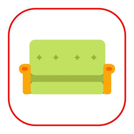 Multicolored vector icon of green couch with yellow armrests Illustration