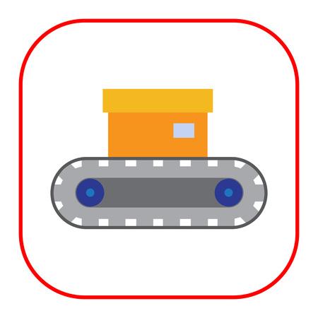 conveyor: Vector icon of conveyor belt with box on it Illustration
