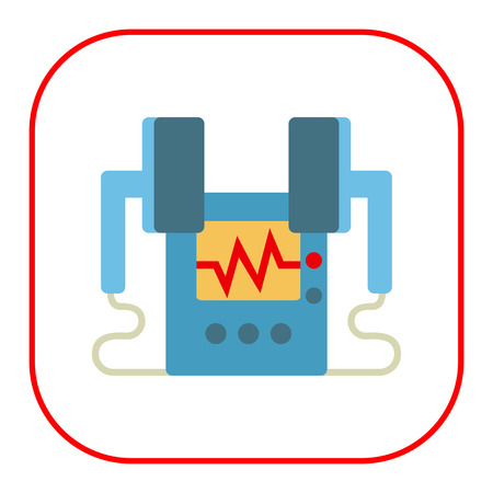 defibrillator: Multicolored vector icon of medical heart defibrillator