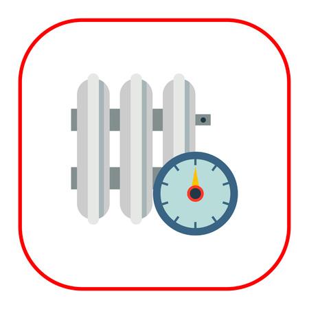 regulator: Vector icon of heating radiator with temperature regulator