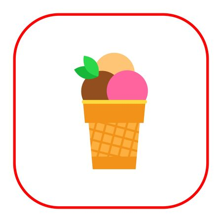 waffle: Vector icon of ice cream balls in waffle cup