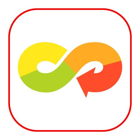 infinity sign: Vector icon of arrow in form of multicolored infinity sign