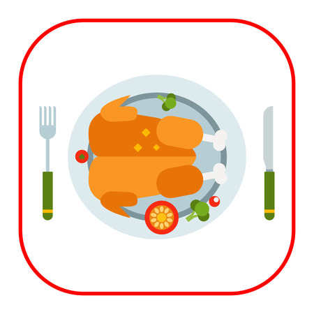 served: Vector icon of roasted chicken served on plate with knife and fork Illustration