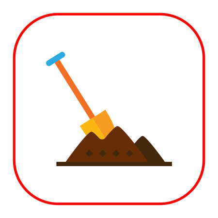 heap: Multicolored vector icon of shovel being stuck in heap of soil Illustration