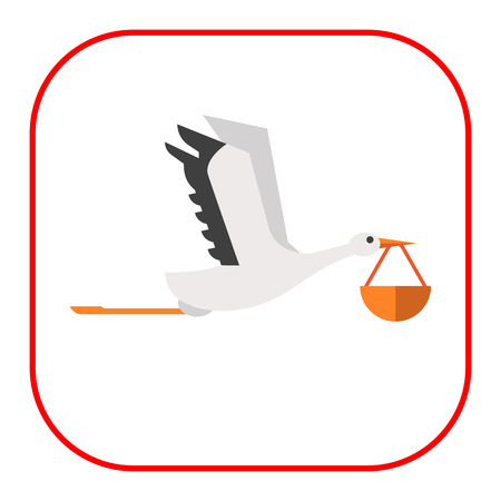 beak: Vector icon of flying stork carrying bundle in its beak