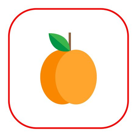 apricot: Multicolored vector icon of fresh apricot with green leaf Illustration