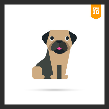pug dog: Multicolored vector icon of funny cartoon pug dog