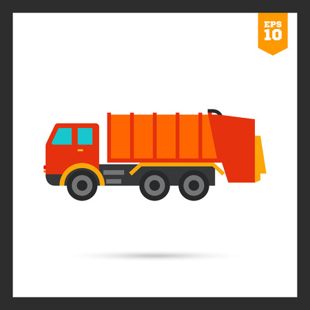collect: Multicolored vector icon of garbage dumping truck