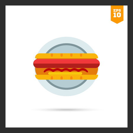hot plate: Vector icon of hot dog on plate Illustration