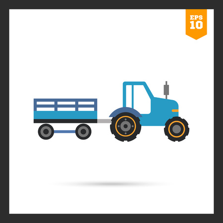 tractor trailer: Multicolored vector icon of blue tractor with trailer Illustration