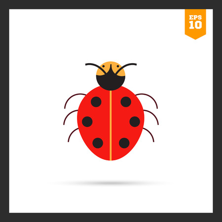 feeler: Multicolored vector icon of cartoon ladybird, top view