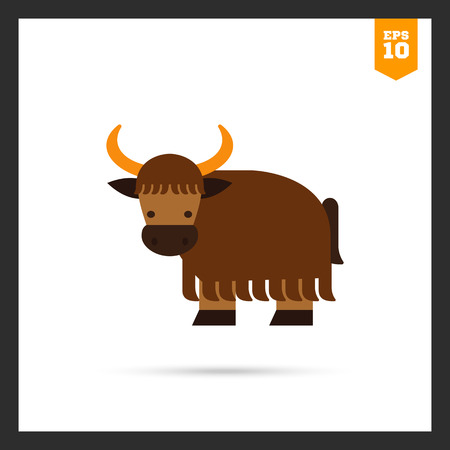 yak: Multicolored icon of brown cartoon yak Illustration