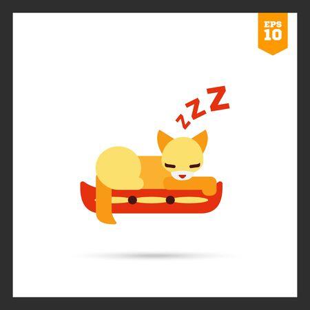 cat sleeping: icon of cat sleeping on pillow
