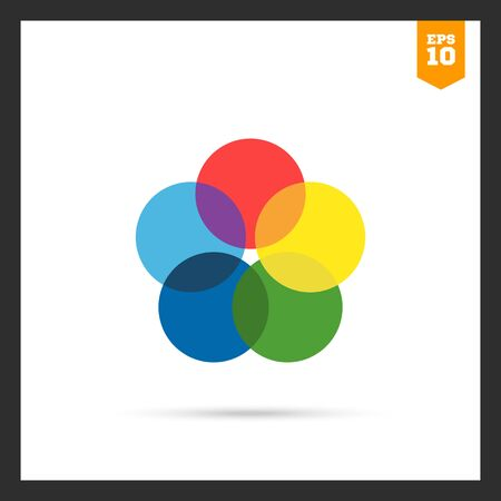 overlapping: icon of five multicolored overlapping circles Illustration
