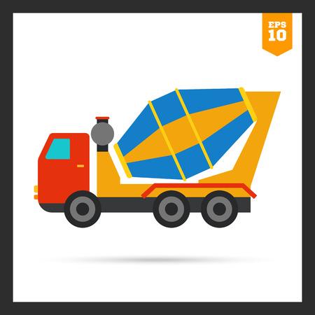 concrete mixer truck: Multicolored icon of concrete mixer truck