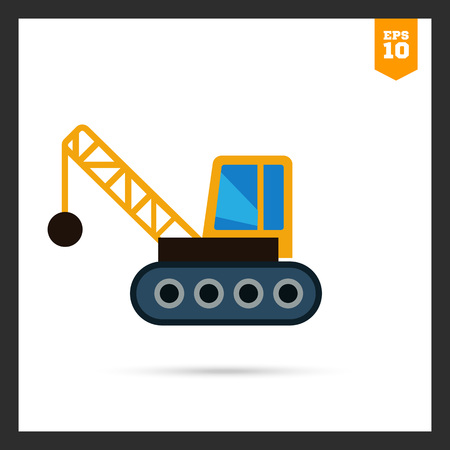 chain ball: Multicolored icon of crane with wrecking ball