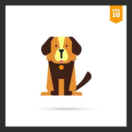 dog collar: Multicolored icon of cute cartoon dog with dog collar Illustration