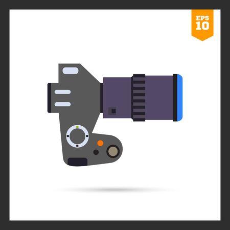 digital slr: Multicolored icon of digital SLR camera Illustration