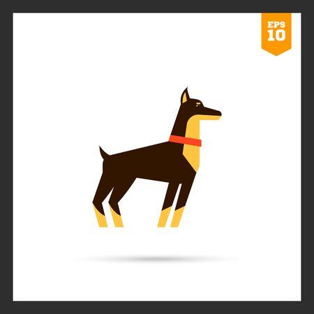 doberman: Multicolored icon of standing doberman dog