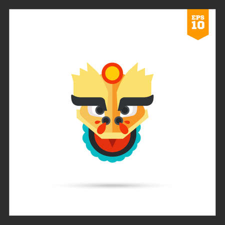 dragon head: Multicolored icon of oriental dragon head Illustration