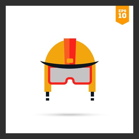 fire fighter: Multicolored icon of fire fighter helmet