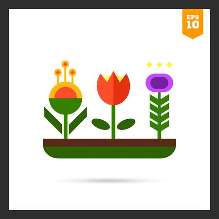 flower bed: icon of flower bed with various flowers