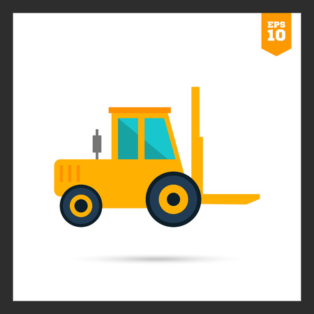 mover: Multicolored icon of yellow forklift truck