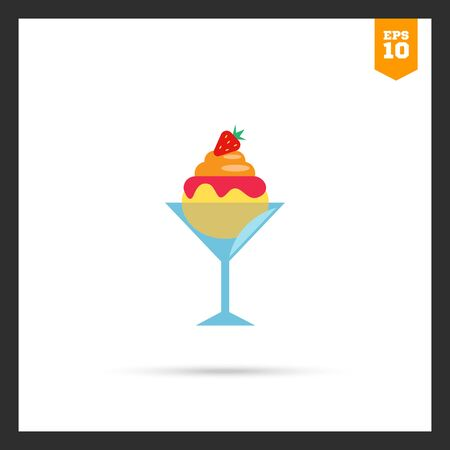 topping: icon of ice cream with topping in waffle cone Illustration