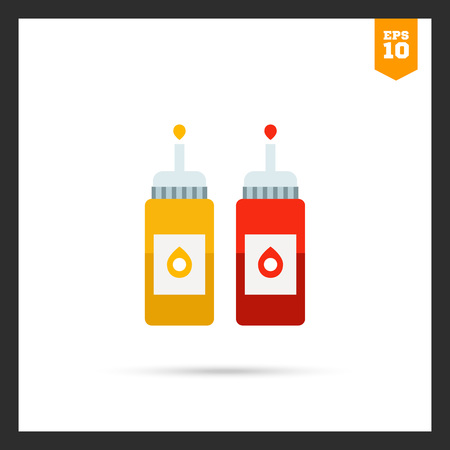ketchup: icon of ketchup and mustard bottles with dispenser Illustration