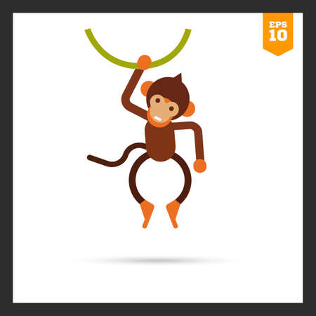 liana: icon of cute little brown monkey hanging on liana
