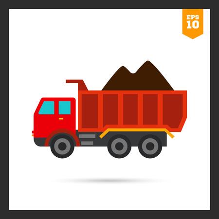 loaded: Multicolored icon of loaded dump truck