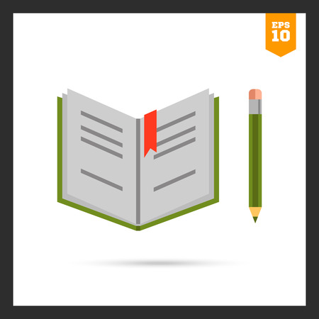 open notebook: icon of open notebook and pencil