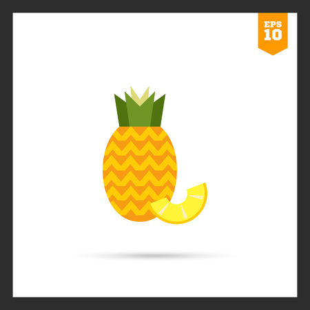 pineapple slice: icon of ripe pineapple with pineapple slice