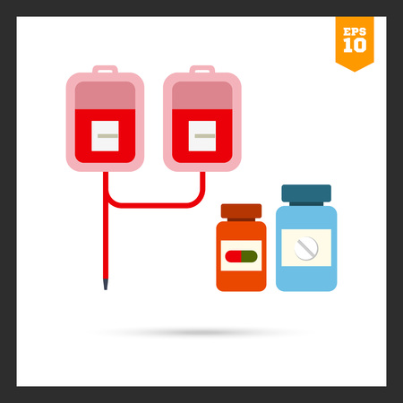iv drip: Multicolored icon of medical drip with iv bags and two pill bottles