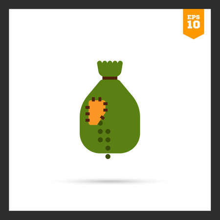 falling out: icon of sack with patch and peas falling out