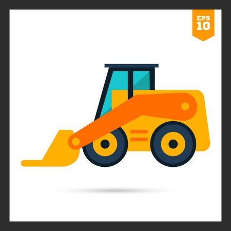 skid loader: Multicolored icon of yellow skid loader
