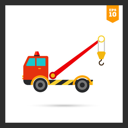 evacuating: Multicolored icon of tow truck with crane