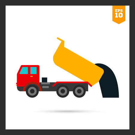 unloading: Multicolored icon of unloading dump truck Illustration