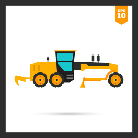 grader: Multicolored icon of yellow construction road grader